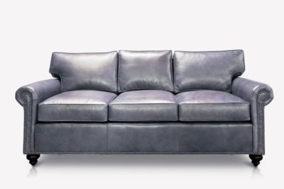 Roosevelt Lawson Style Roll Arm Three Seat Sofa In Gray Leather