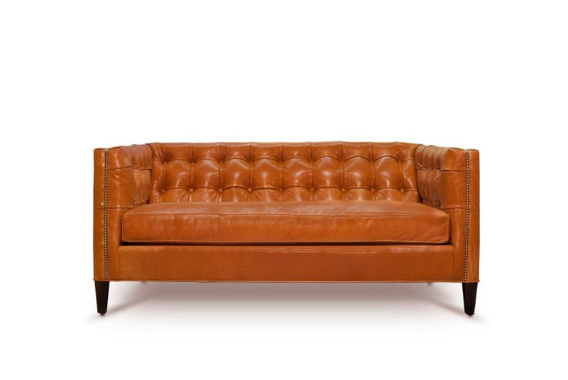 Dylan Mid-Century Orange Leather Tufted Tuxedo Sofa