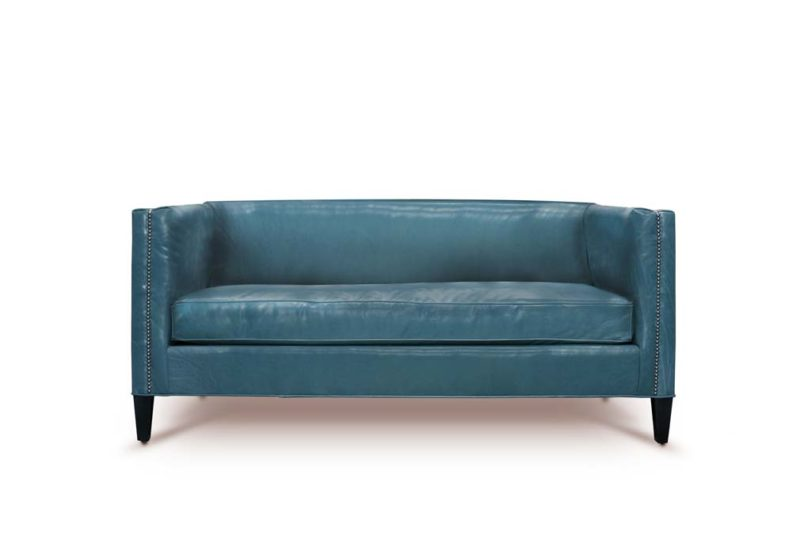 68 Inch Dylan Mid-Century Sofa In Renegade Blue Leather