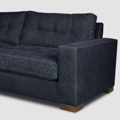 Brando Waxed Canvas Blind Tufted Contemporary Square Track Arm Sectional
