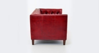 Dylan Mid-Century Red Leather Tuxedo Chair