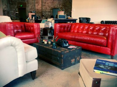 Dylan Mid-Century Square-Tufted Loveseat And Chair In Red Leather