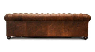 Irving Chesterfield Sleeper Sofa In Distressed Vintage Brown Leather