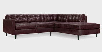 Jack Burgandy Leather Mid-Century Low Profile Knoll Style Sectional