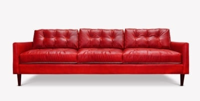 Jack Red Leather Mid-Century Low Profile Knoll Style Sofa In Mont Blanc Crimson