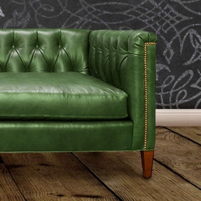 Neil Mid-Century Diamond Tufted Leather Sectional