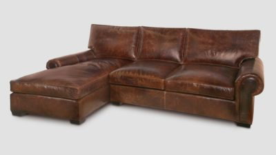 Roosevelt Chaise Sectional Roll Arm Lawson Style Sofa In Brompton Brown Leather