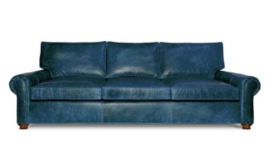Moore & Giles Navy Blue Leather Roosevelt Roll Arm Sofa