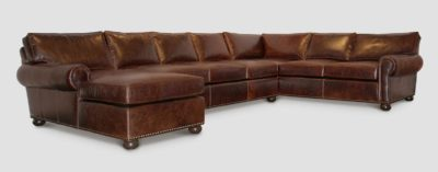 Roosevelt Leather Roll Arm Sectional
