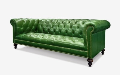 Hemingway Green Leather Tufted Seat Chesterfield Sofa