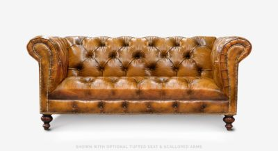 Hemingway American Chesterfield Sofa With Vintage Cigar Leather Tufting
