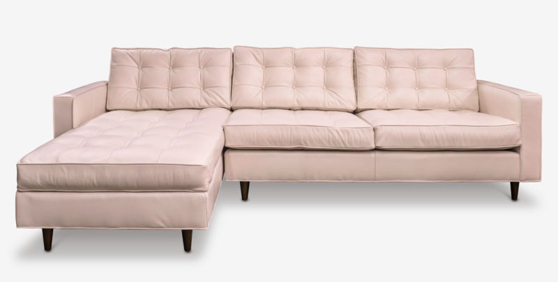 Millenial Pink Leather Redding Mid-Century Tufted Sectional