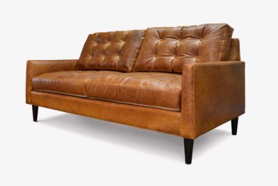 Redding Brown Leather Knoll Style Sofa