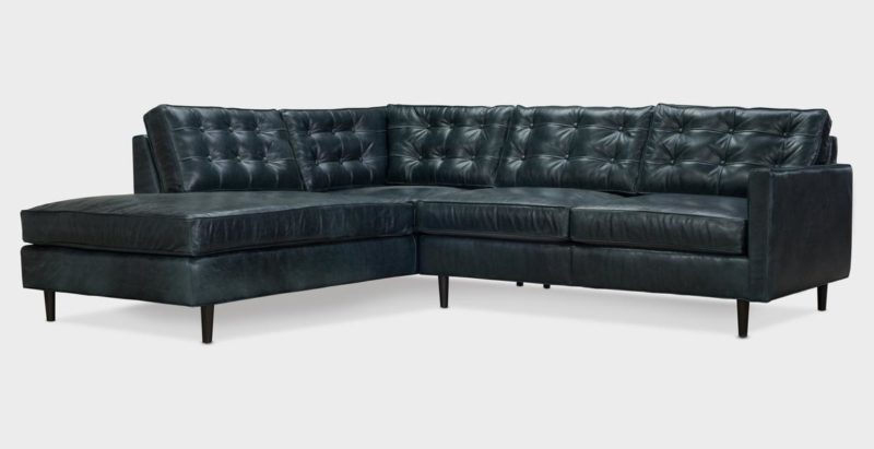 Redding Black Leather Mid-Century Sectional