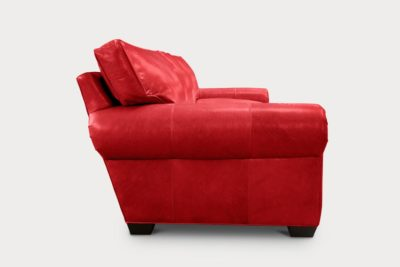 Roosevelt Roll Arm Seating In Mont Blanc Crimson Red Leather