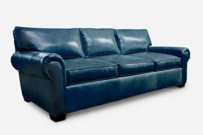 Roosevelt Roll Arm Leather Sofa In Navy