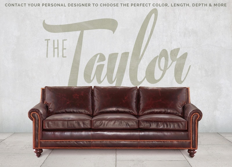 Taylor Petite Roll Arm Sofa In Oxblood Leather