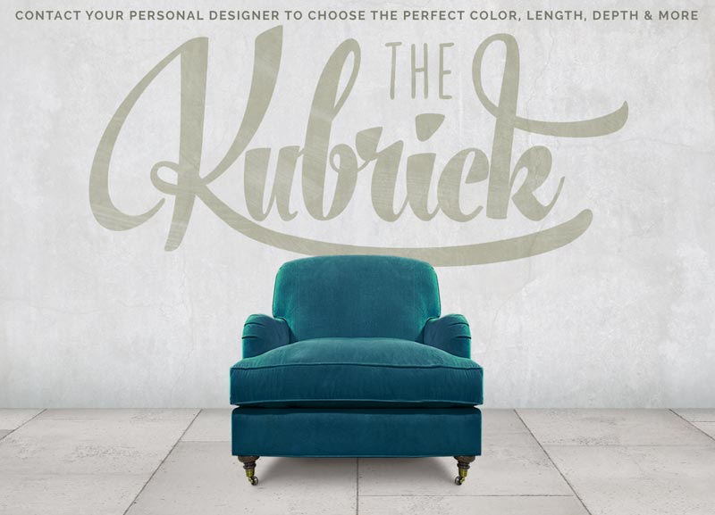 Blue Kubrick Tight Back English Arm Chair In Como Cyan Velvet