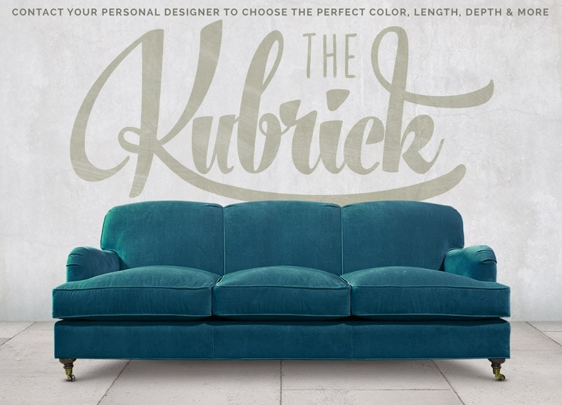 Blue Kubrick Tight Back English Arm Sofa In Como Cyan Velvet