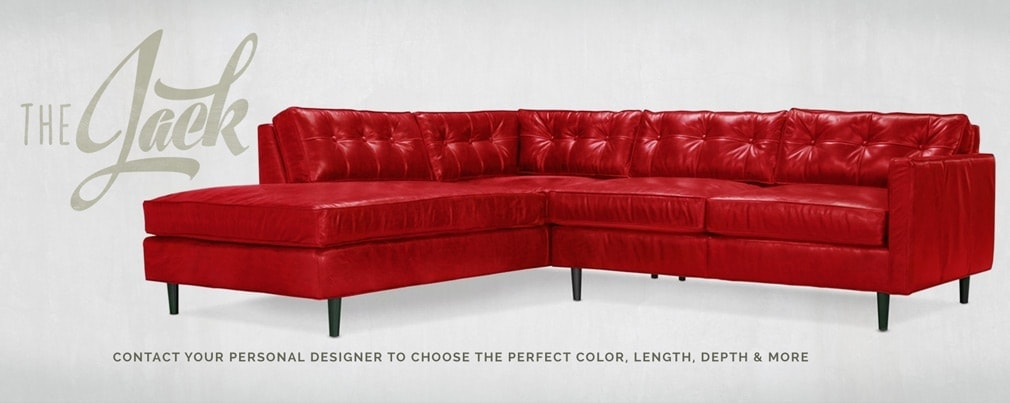Redding Red Leather Mid-Century Sectional Sofa