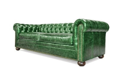Irving Traditional Chesterfield Sofa In Emerald Green Leather