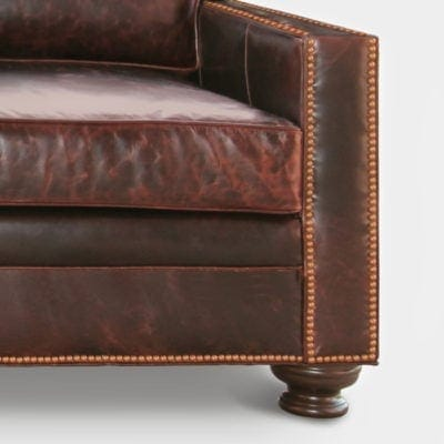 Heston Leather Petite Track Arm Sectional