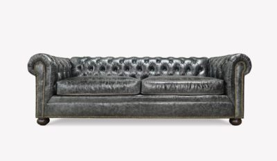 Irving Classic Chesterfield Sofa In Black Leather