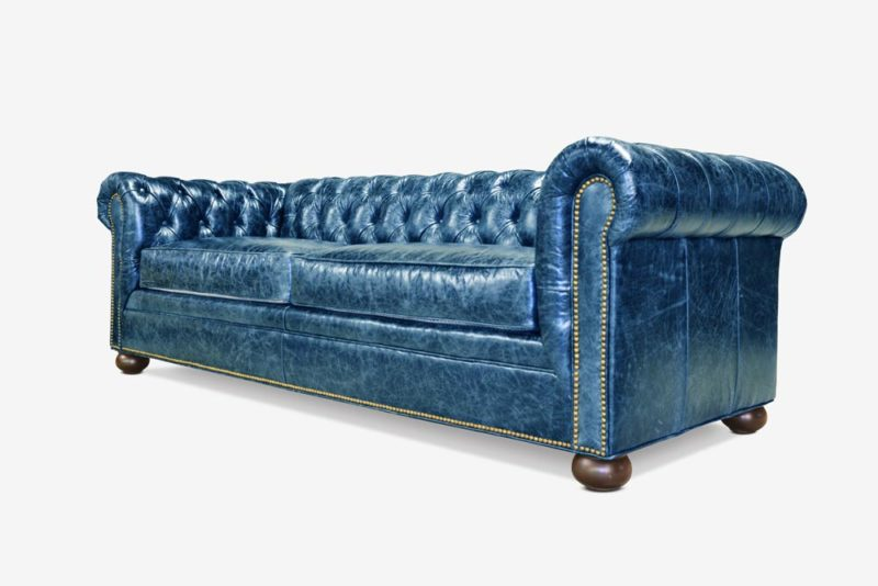 Irving Classic Chesterfield Sofa In Blue Leather