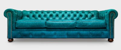 Irving Classic Blue Leather Chesterfield Sofa