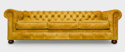 Irving Classic Gold Suede Chesterfield Sofa