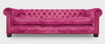 Irving Classic Pink Suede Chesterfield Sofa