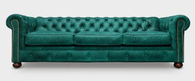 Irving Classic Teal Leather Chesterfield Sofa
