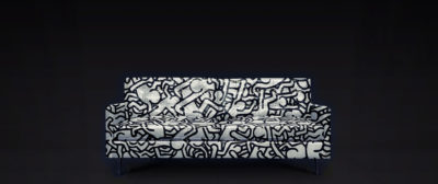 Concept Render Of Keith Haring Custom Painted Leather Mid-Century Redding Sofa