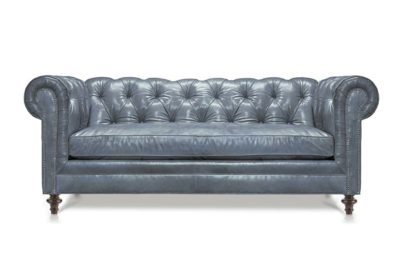 Twain Scalloped Chesterfield Loveseat In Mont Blanc Storm Leather
