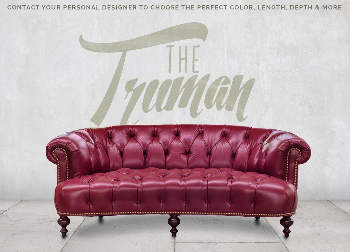 The Truman A Button Tufted Curved Chesterfield Sofa In Red