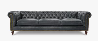 Fitzgerald Vintage Black Leather Chesterfield Sofa