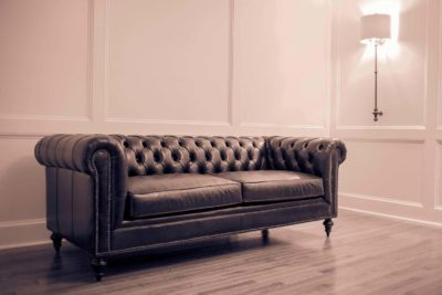 Fitzgerald Vintage Brown Leather Chesterfield Couch