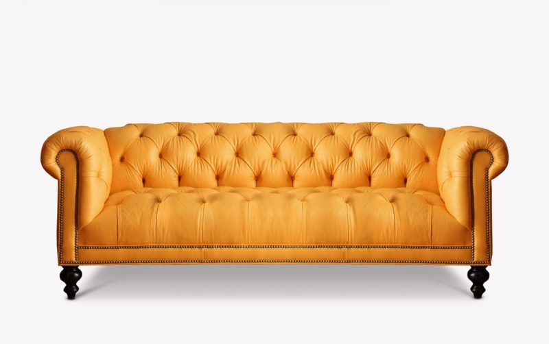 Fitzgerald Green Leather Chesterfield Sofa With Tufted Seat