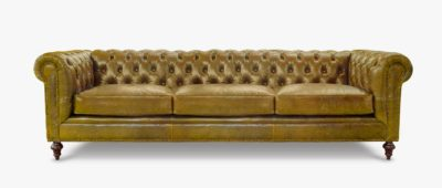 Fitzgerald Vintage Brown Saddle Leather Chesterfield Sofa