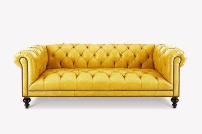 Fitzgerald Yellow Leather Chesterfield Sofa With Tufted Seat