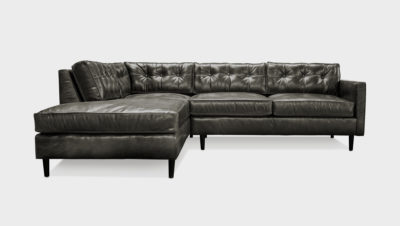 Jack Black Leather Mid-Century Low Profile Knoll Style Sectional