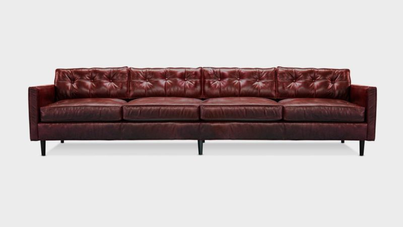 Jack Oxblood Leather Mid-Century Low Profile Knoll Style Sofa