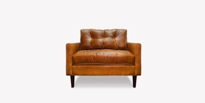 Jack Tan Leather Mid-Century Low Profile Knoll Style Chair