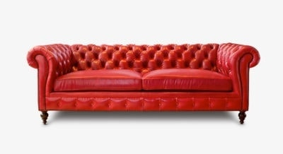 Hemingway Red Chesterfield Leather Sofa