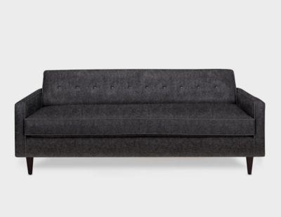 Jack Mid-Century Tight-Back Knoll Style Sofa In Charcoal Wool