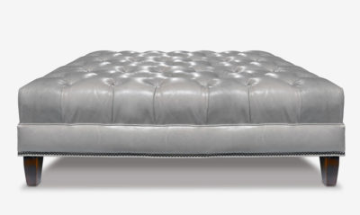 White Leather Tufted Chesterfield Ottoman
