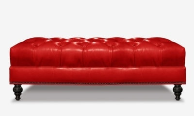 Red Leather Tufted Chesterfield Bench