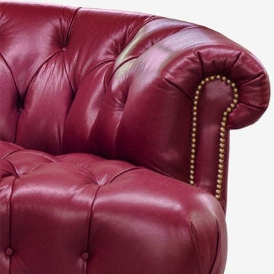 Truman Leather Chesterfield Rounded Arm Detail