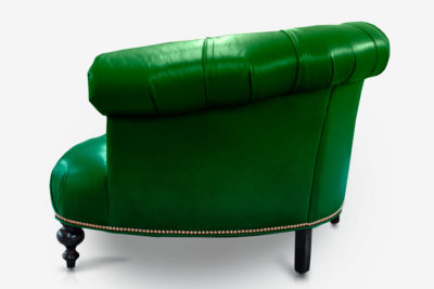 The Truman: Emerald Green Leather Curved Chesterfield Loveseat