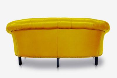 The Truman: Banana Yellow Leather Chesterfield Loveseat